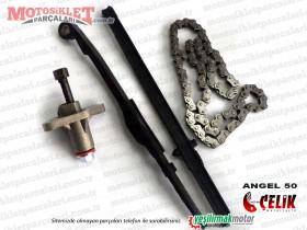 Çelik Angel 50 KD50QT-4 Scooter Eksantrik Zinciri, Klavuzu ve Gergisi Seti